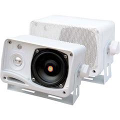 "PYLE PLMR24 Hydra Series 3.5"" 200-Watt 3-Way Weatherproof Mini-Box Speaker System (White)"