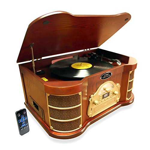 PYLE PTCD54UB BLUETOOTH VINTAGE STYLE TURNTABLE WITH AM FM