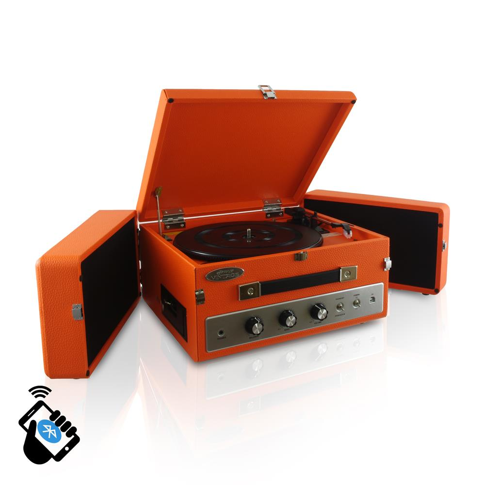PYLE PLTT82BTOR ORANGE VINTAGE STYLE TURNTABLE RECORD PLAYER