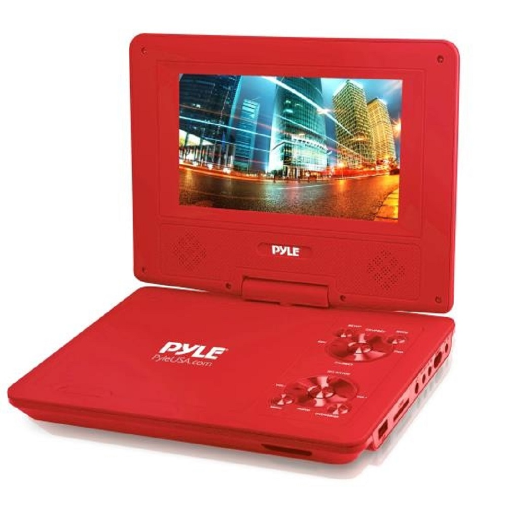 PYLE PDV91RD RED 9 INCH  PORTABLE DVD PLAYER RECHARGEABLE