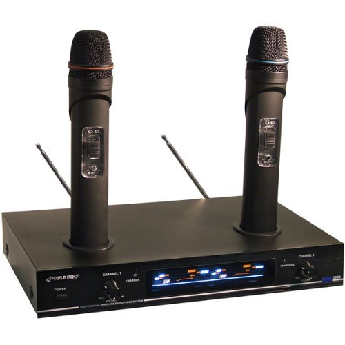 MICROPHONE SYSTEM PYLE PRO DUAL VHF WIRELESS RECHARGEABLE