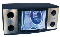 "BANDPASS BOX PYLE DUAL 12"" BLUE LED WOOFER RINGS"