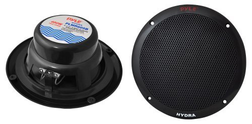 6 1/2'' 2-Way Dual Cone Marine Speakers- Black 400W Max