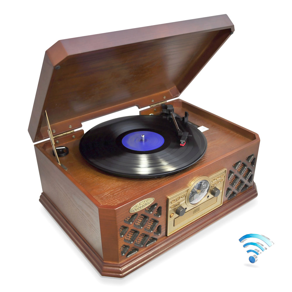 Pyle retro turntable with bluetooth CD cassette radio auxiliary input
