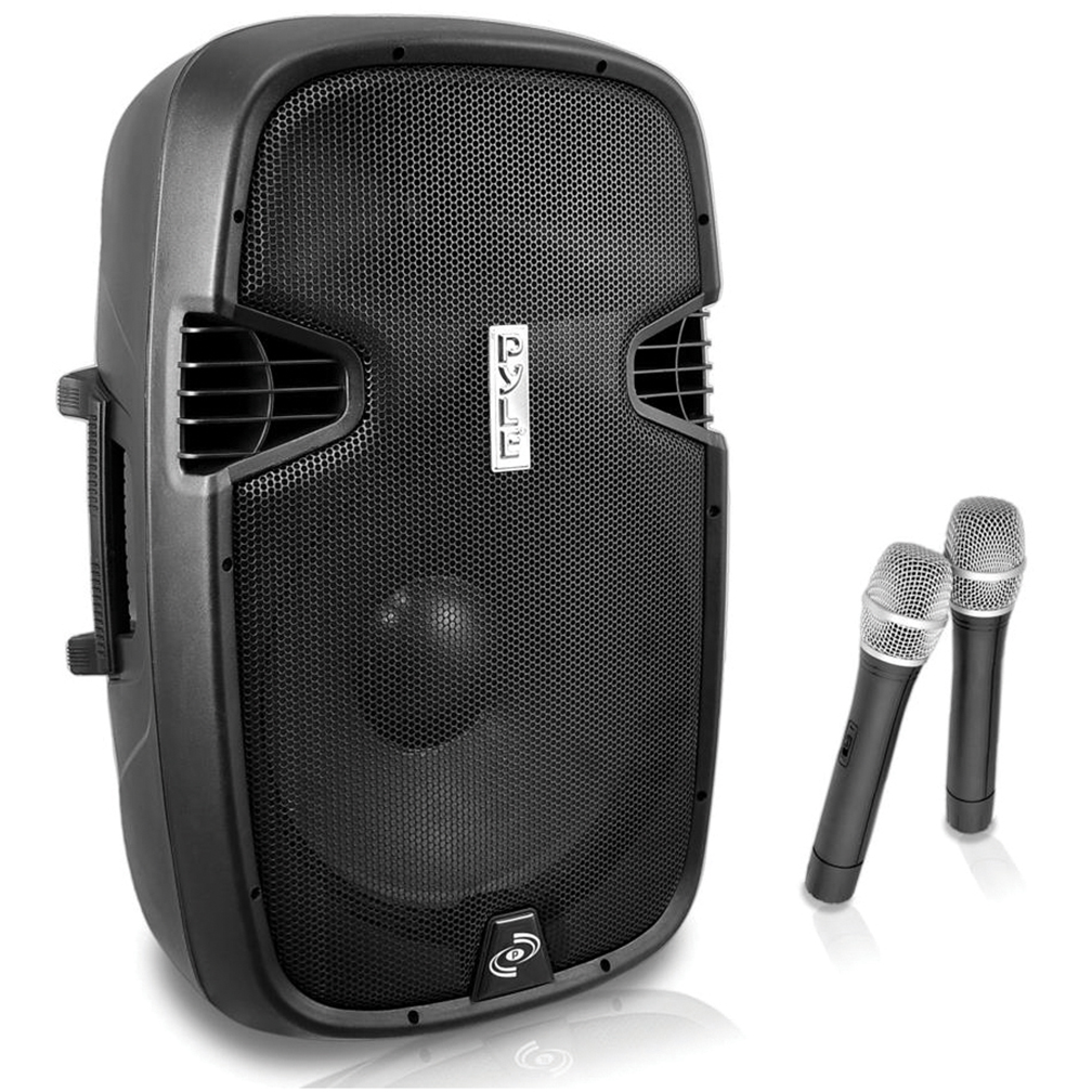 """Pyle 12"""" 1000W BT portable Loudspeaker w/2 wireless mics and remote LCD readout rechargable."""