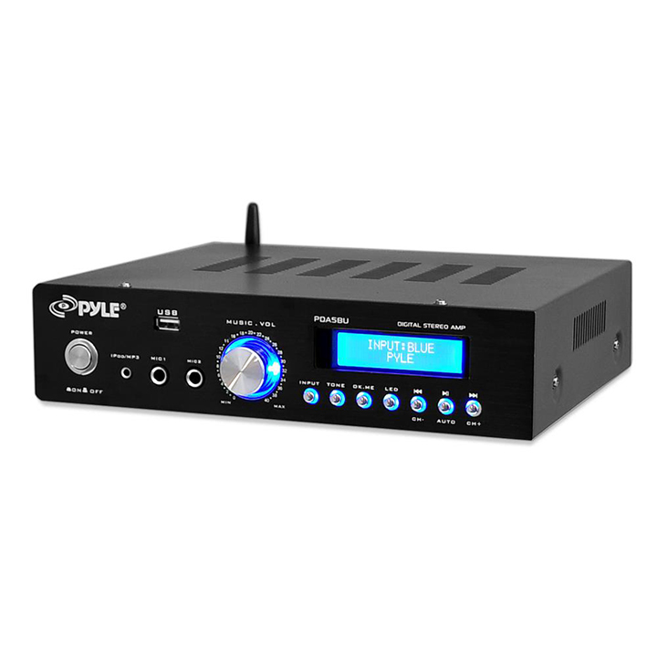 Pyle BT Stereo Amplifier Reciever AM/FM Radio USB Flash Reader 3.5mm Aux LCD Display 200W