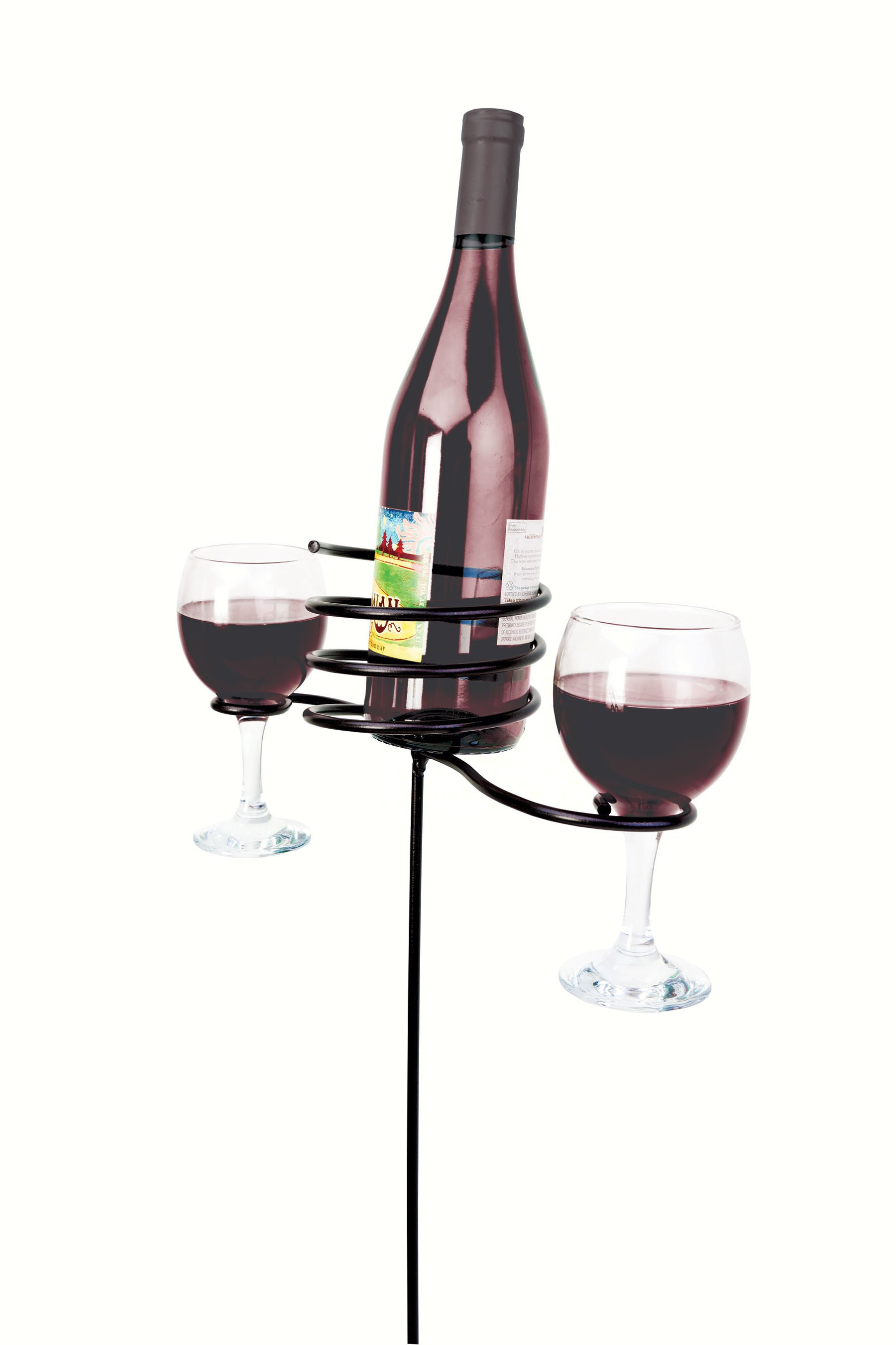24 inch Wine Bottle & Glasses Stake-Black