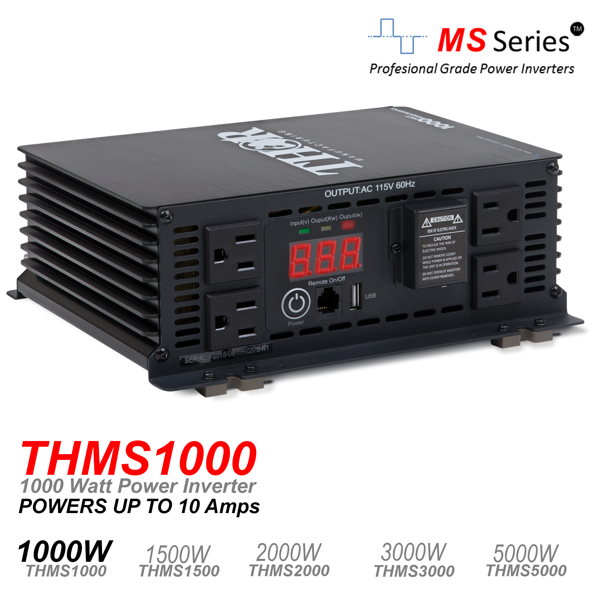 THOR 1000 Watt Power Inverter with USB 2.1