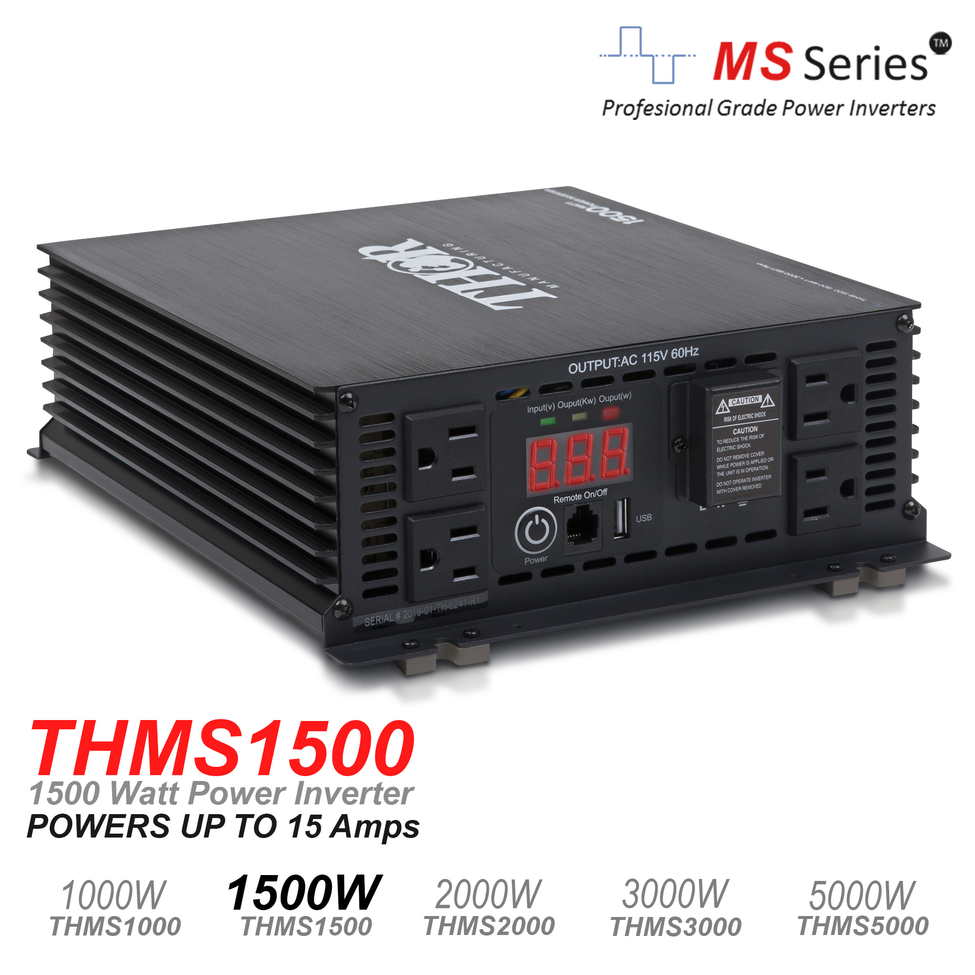 THOR 1500 Watt Power Inverter with USB 2.1