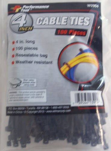 100 PC 4 BLACK CABLE TIE