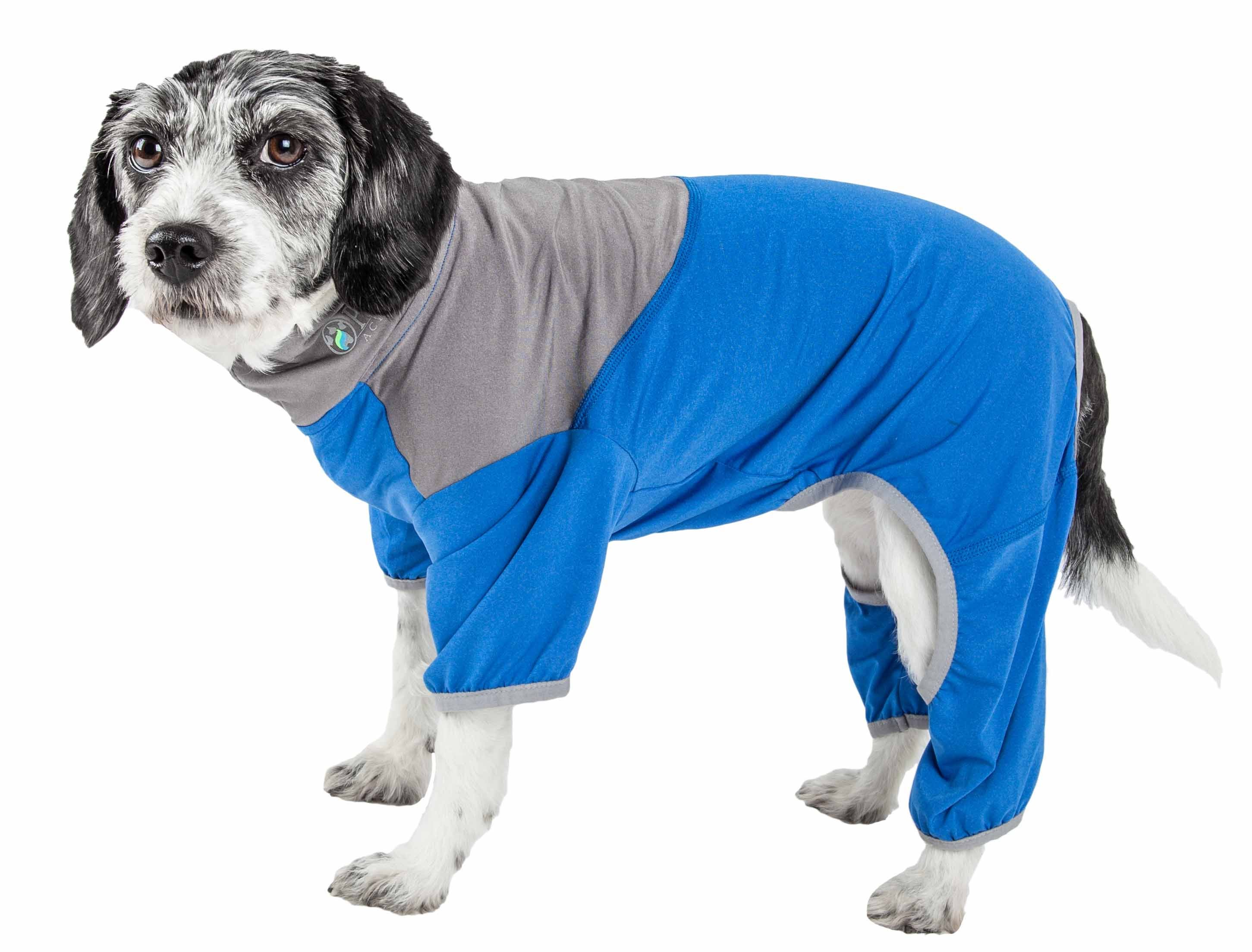 Pet Life  Active 'Embarker' Heathered Performance 4-Way Stretch Two-Toned Full Body Warm Up