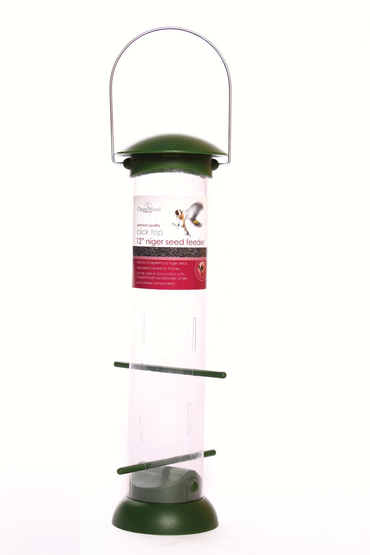 12 inch Nyjer Seed Feeder Click Top