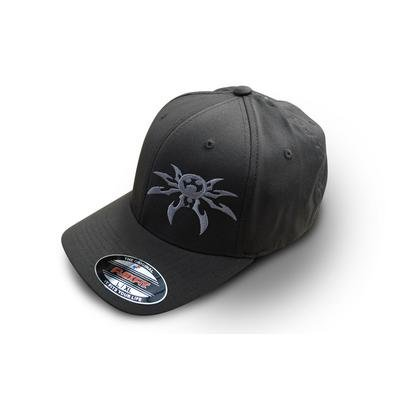 Poison Spyder Customs Flexfit Spyder Logo Hat in Gray, Large/X-Large 50-46-204-L