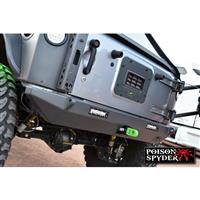 Poison Spyder Customs BFH II Rear Bumper with 2 Inch Receiver, Light Mounts and D-Ring Tabs 17-17-040-DL
