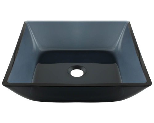 Polaris P036 Square Black Glass Vessel Bathroom Sink