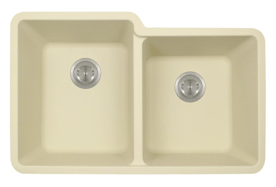 Polaris P108BE Beige Astragranite Double Offset Bowl Kitchen Sink