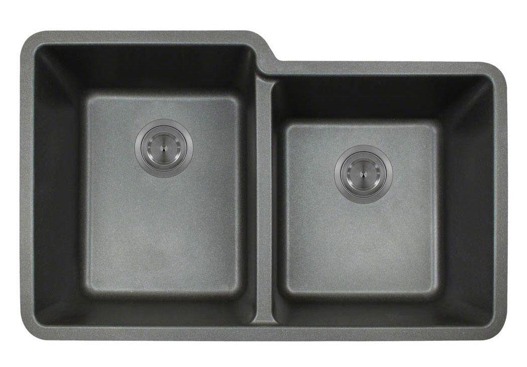 Polaris P108BL Black Astragranite Double Offset Bowl Kitchen Sink