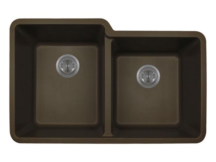 Polaris P108M Mocha Astragranite Double Offset Bowl Kitchen Sink