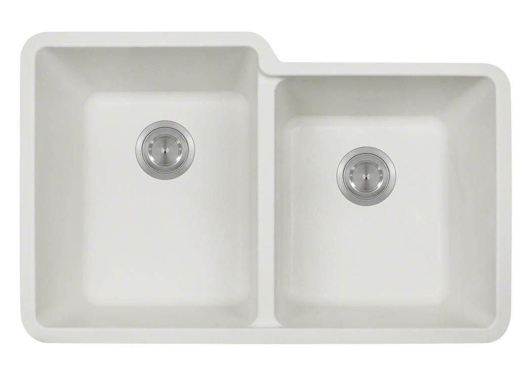 Polaris P108W White Astragranite Double Offset Bowl Kitchen Sink