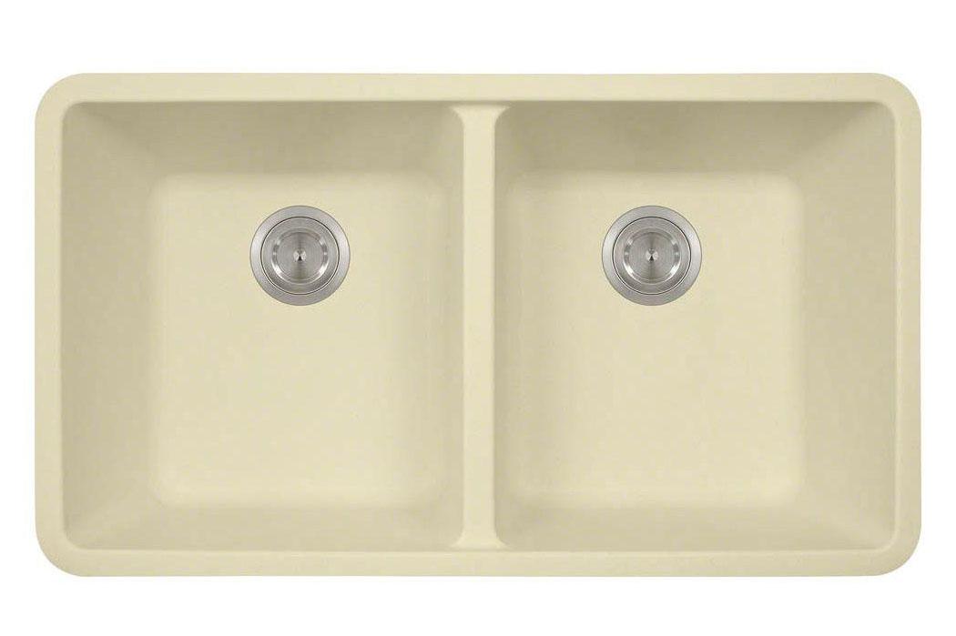 Polaris P208BE Beige Double Equal Bowl Kitchen Sink