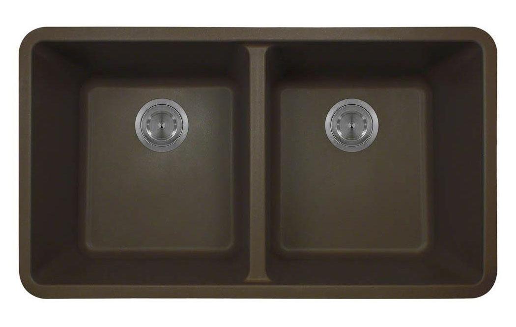 Polaris P208M Mocha Double Equal Bowl Kitchen Sink