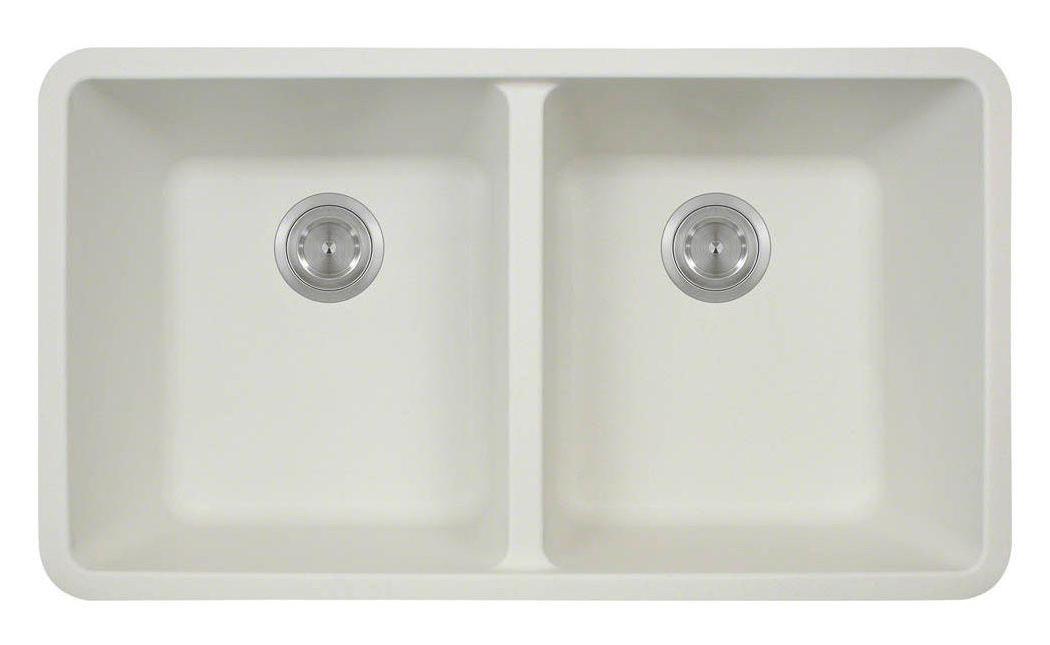 Polaris P208W White Double Equal Bowl Kitchen Sink