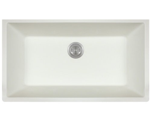 Polaris P848W White Astragranite Large Single Bowl Sink