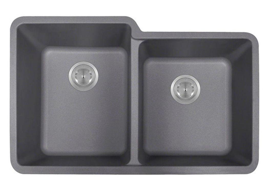 Polaris P108S Silver Astragranite Double Offset Bowl Kitchen Sink