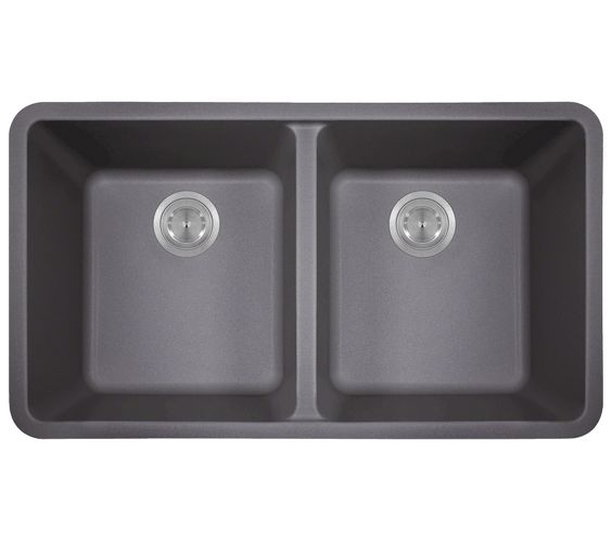 Polaris P208S Silver Astragranite Double Equal Bowl Kitchen Sink