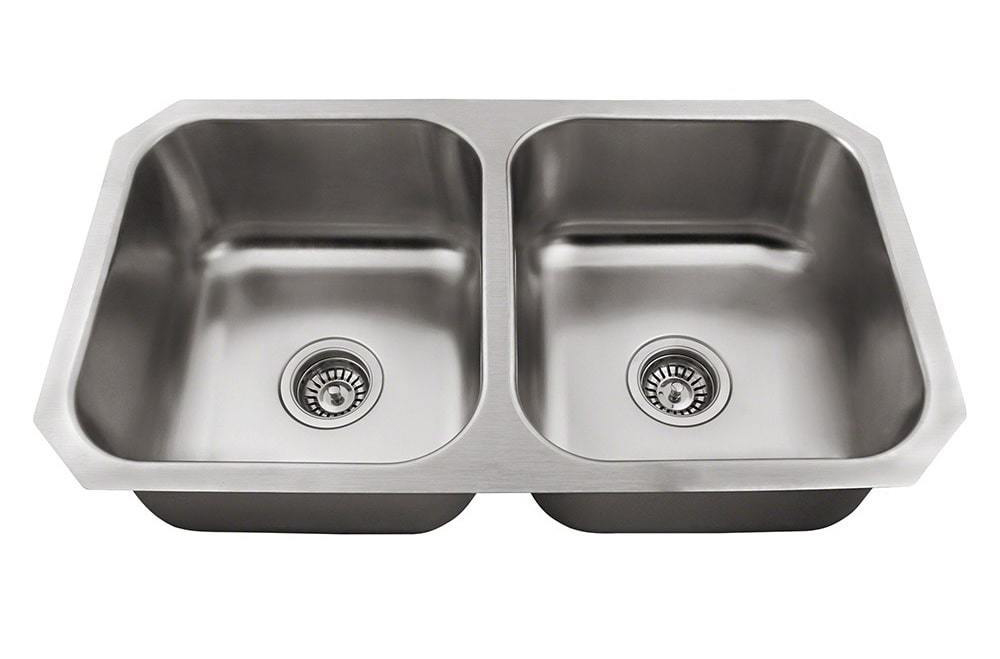 Polaris P2201US Equal Double Bowl Stainless Steel Sink