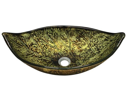 Polaris p346 Foil Undertone Leaf Glass Vessel Sink