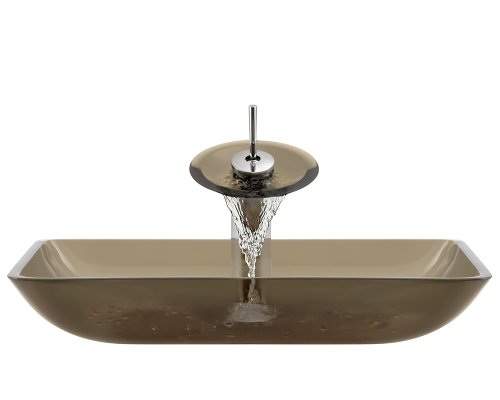 Polaris Sinks P046 Taupe Chrome Bathroom Ensemble (Bundle - 4 Items: Vessel Sink, Waterfall Faucet, PoP-UP Drain, and Sink Ring)