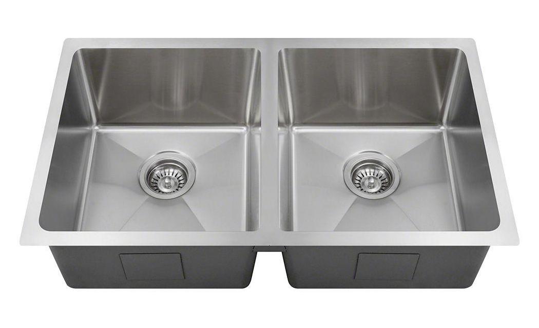 Polaris PD0213 Undermount Double Bowl 3/4 Radius Stainless Steel Sink