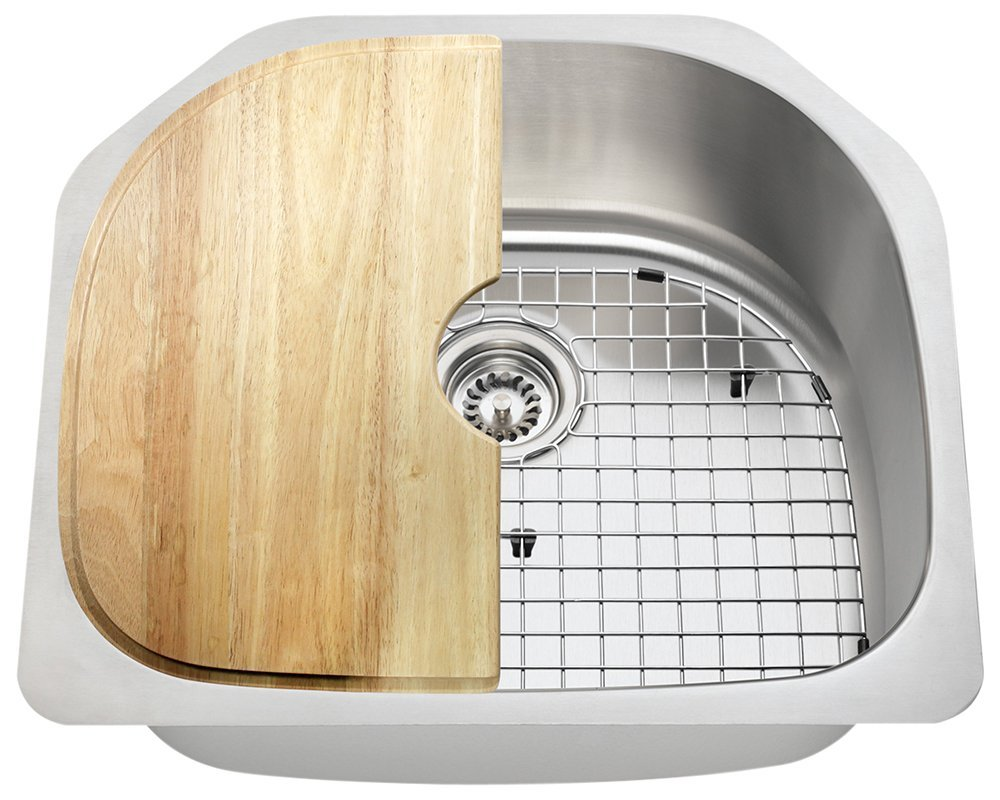 Polaris Sinks P1242 16 Gauge Kitchen Ensemble (Bundle - 4 Items: Sink, Standard Strainer, Sink Grid, and Cutting Board)