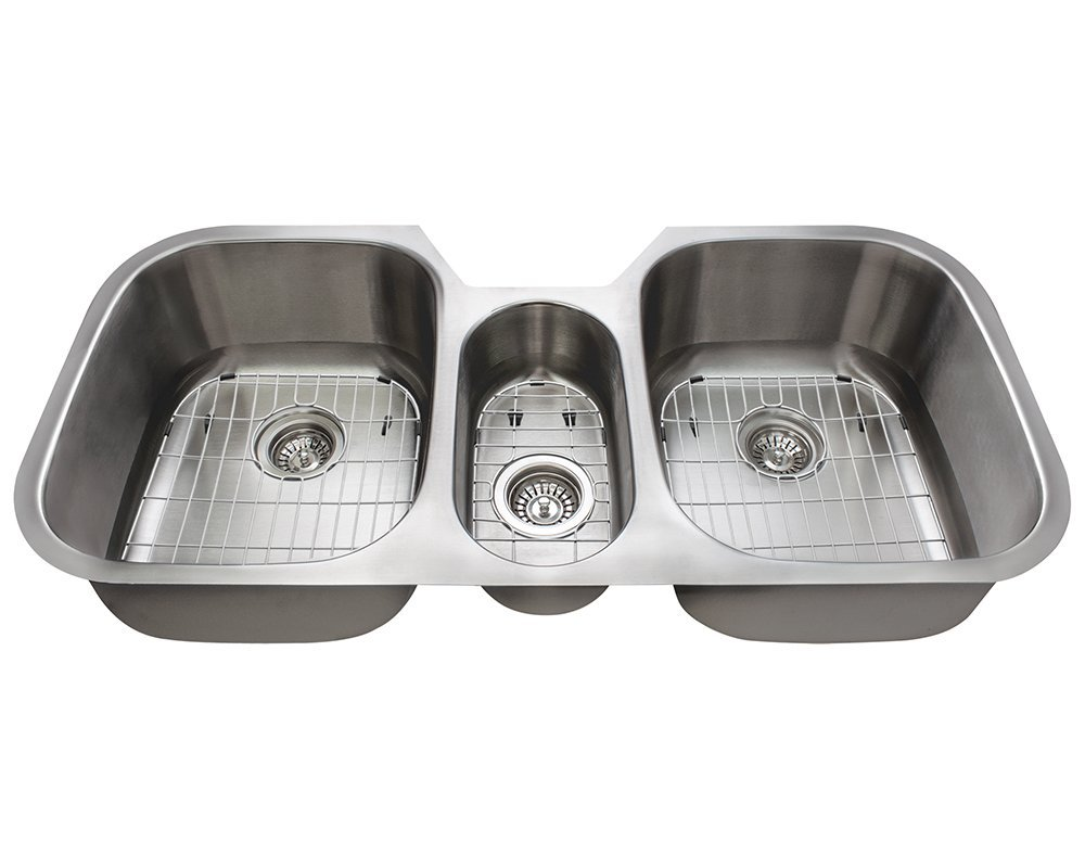 Polaris Sinks P1254 16 Gauge Kitchen Ensemble (Bundle - 7 Items: Sink, 3 Standard Strainers, and 3 Sink Grids)