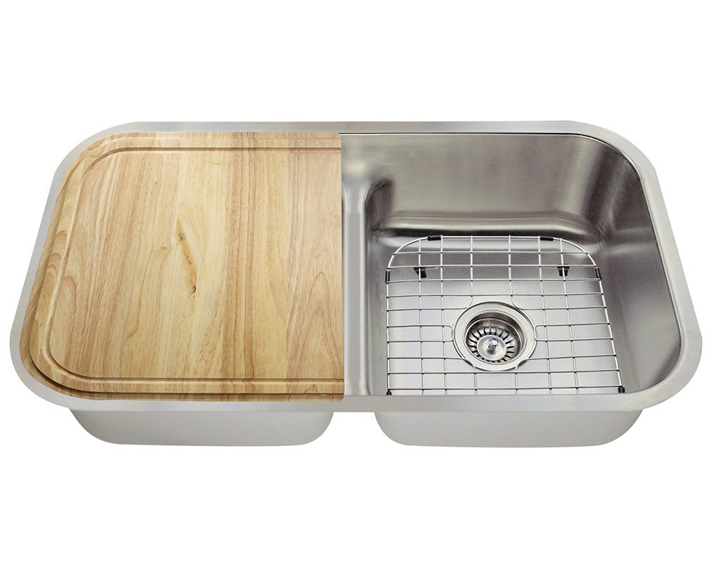 Polaris Sinks P215 16 Gauge Kitchen Ensemble (Bundle - 6 Items: Sink, 2 Standard Strainers, 2 Sink Grids, and Cutting Board)