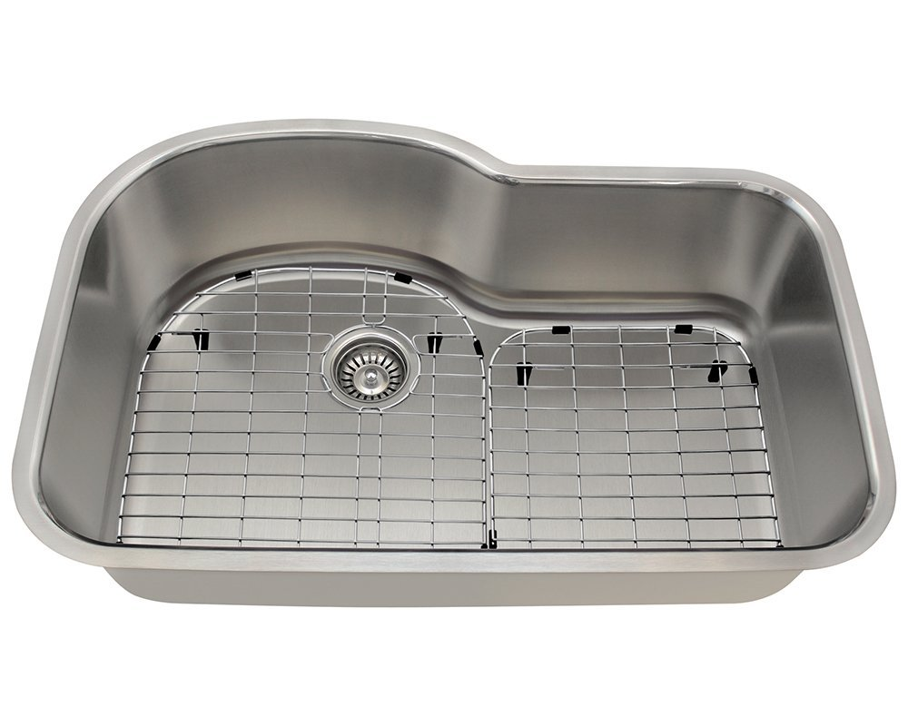 Polaris Sinks P643 16 Gauge Kitchen Ensemble (Bundle - 4 Items: Sink, 1 Standard Strainers, and 2 Sink Grids)