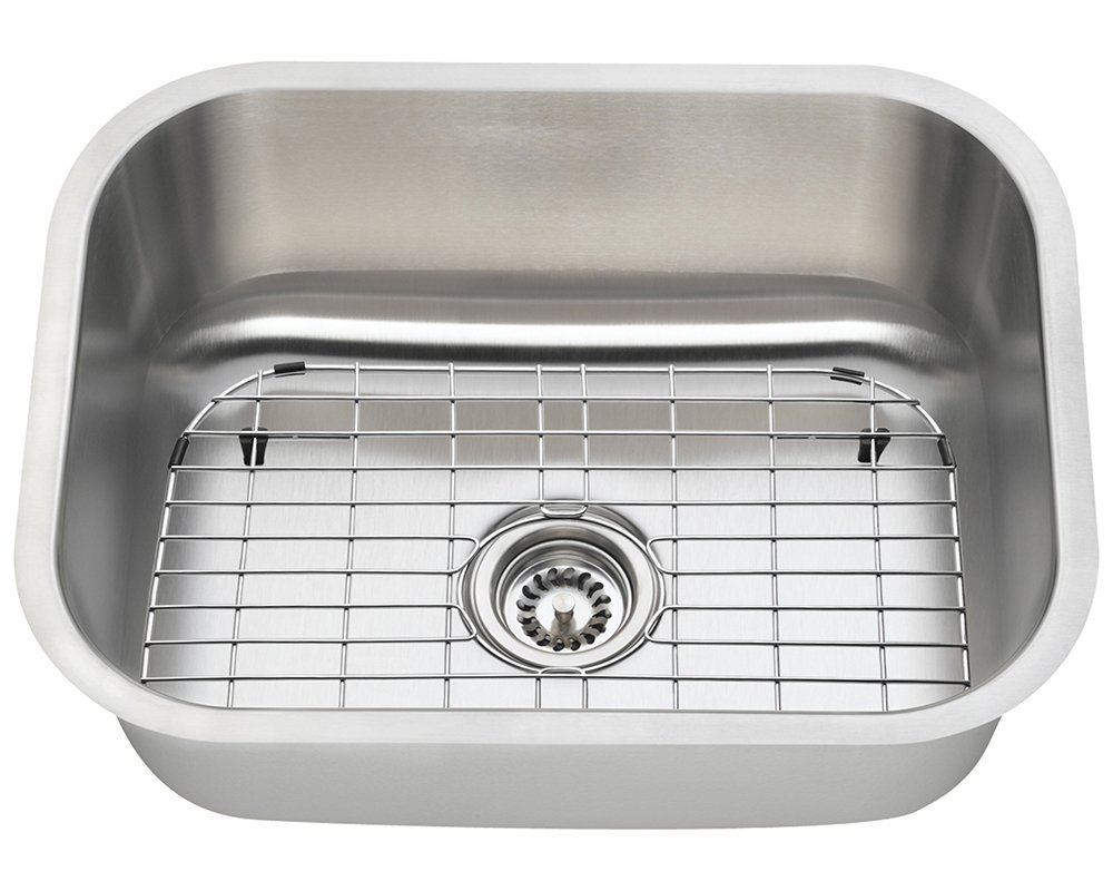 Polaris Sinks P8132 16 Gauge Kitchen Ensemble (Bundle - 4 Items: Sink, Standard Strainer, Sink Grid, and Cutting Board)