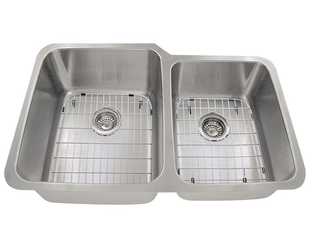 Polaris Sinks P315L 16 Gauge Kitchen Ensemble (Bundle - 5 Items: Sink, 2 Standard Strainers, and 2 Sink Grids)