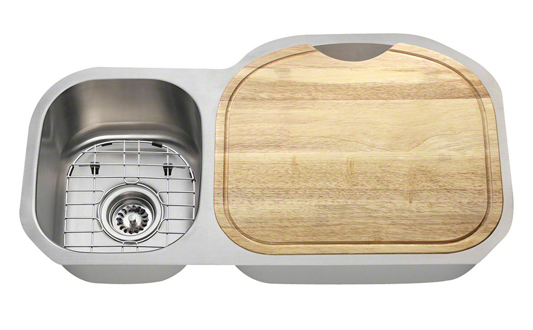Polaris Sinks PR105 16 Gauge Kitchen Ensemble (Bundle - 6 Items: Sink, 2 Standard Strainers, 2 Sink Grids, and Cutting Board)
