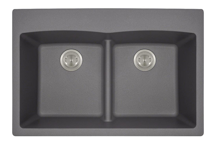 Polaris P218TS Double Equal Bowl Low-Divide Topmount TruGranite Sink