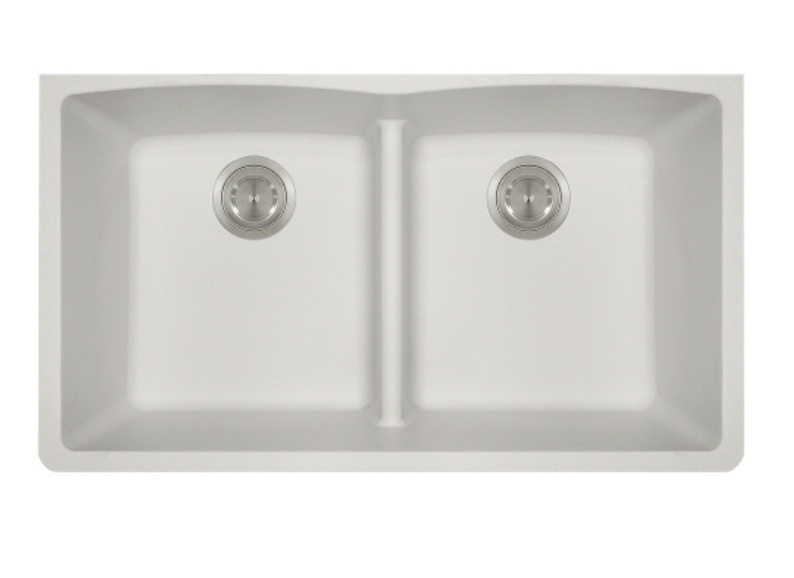 Polaris P218W Double Equal Bowl Low-Divide Undermount TruGranite Sink