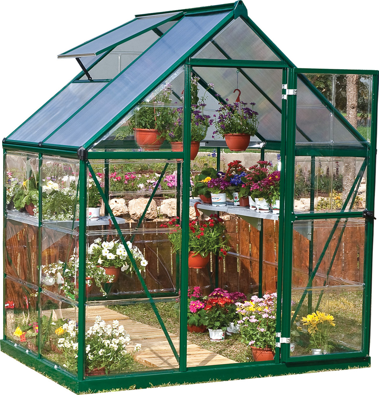 Palram Nature Series Hybrid Hobby Greenhouse - 6 x 4 x 7 Forest Green