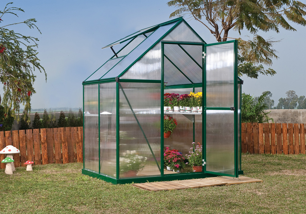 Palram Nature Series Mythos Hobby Greenhouse - 6' x 4' Forest Green