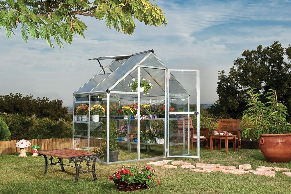 Palram Nature Series Hybrid Hobby Greenhouse - 6 x 4 x 7 Silver