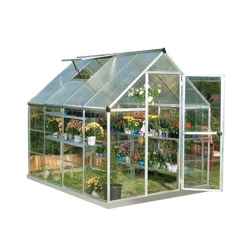 Palram Nature Series Hybrid Hobby Greenhouse - 6 x 8 x 7 Silver