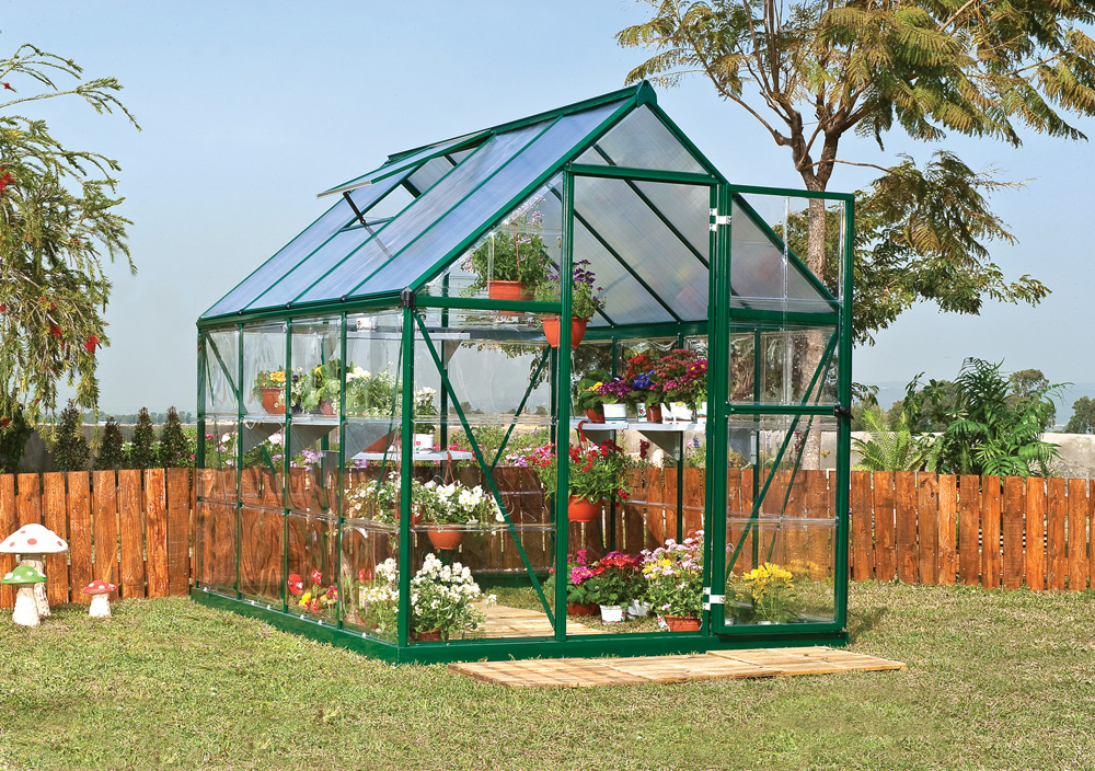 Palram Nature Series Hybrid Hobby Greenhouse - 6 x 8 x 7 Forest Green