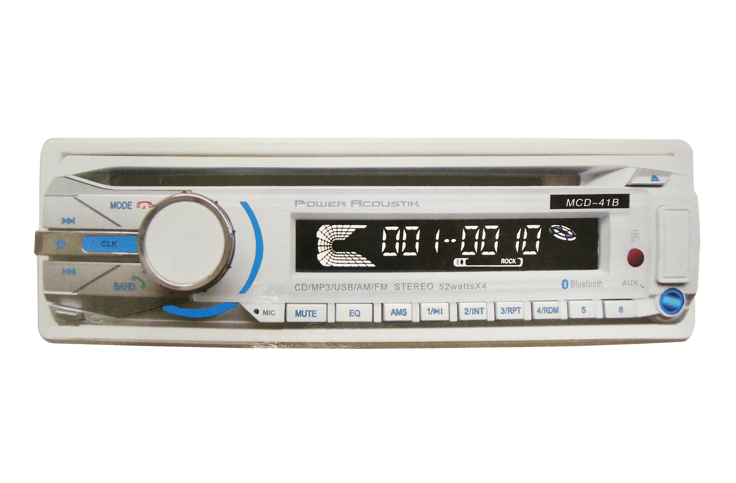 POWER ACOUSTIK - 1 DIN DETACHABLE FACE (52 WATTS X 4) CD/MP3 AM/FM STEREO RECEIVER WITH V3.0 BLUETOOTH, USB PORT & AUXILIARY INP