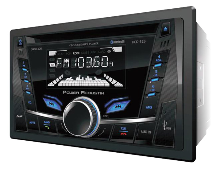 POWER ACOUSTIK - 2 DIN 300 WATT 4 CHANNEL CD & MP3 AM/FM RECEIVER WITH SD/USB PLAYBACK & V2.0 BLUETOOTH HANDS FREE CALLING FROM