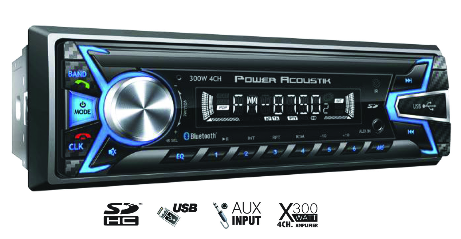 POWER ACOUSTIK - FIXED PANEL 1 DIN (4 CHANNEL) 300 WATT DIGITAL AM/FM RECEIVER WITH AUXILIARY, SD & USB INPUTS